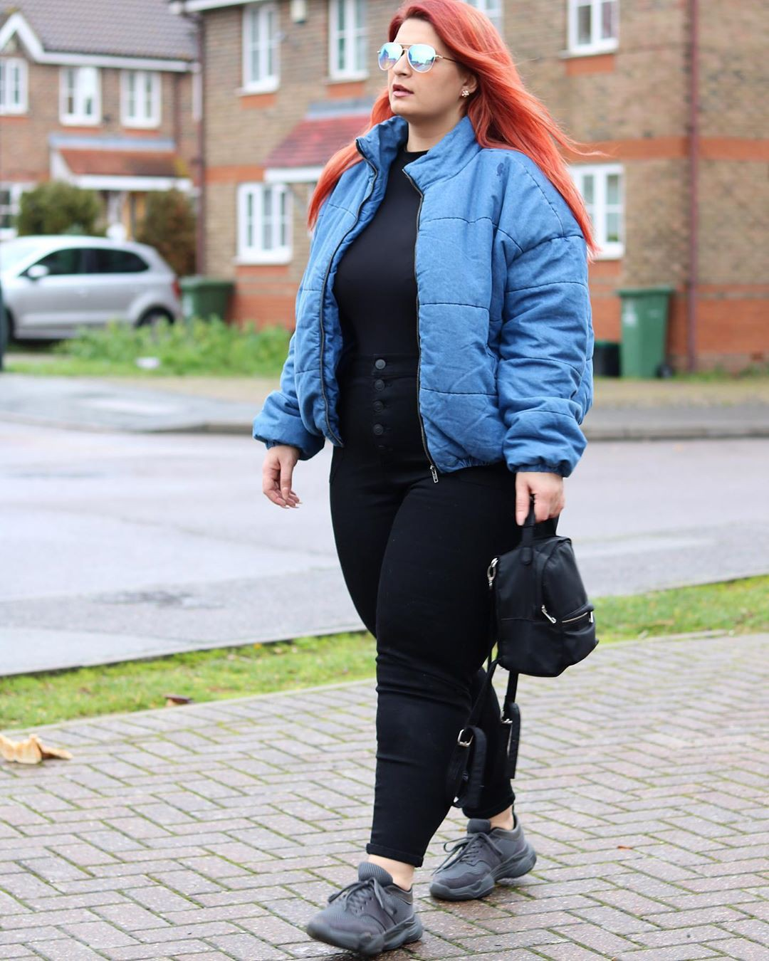 Cobalt blue and blue jacket, jeans, photography for girl