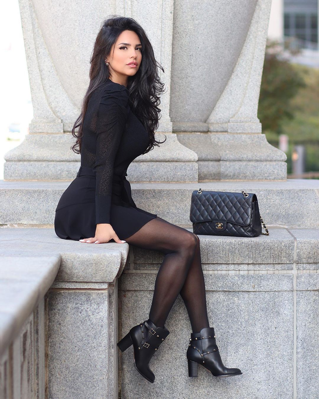 black colour outfit, you must try with little black dress, tights, woman thighs