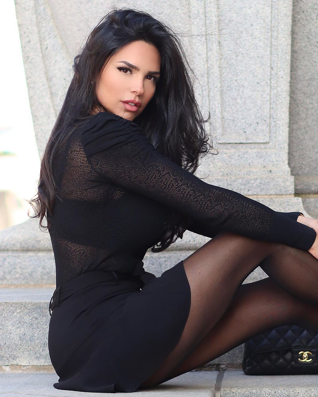 black matching style with tights, female thighs, hot legs