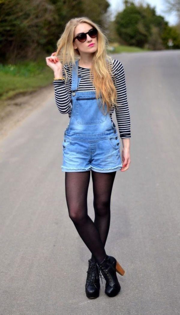Short overalls in winter, street fashion, denim shorts, t shirt