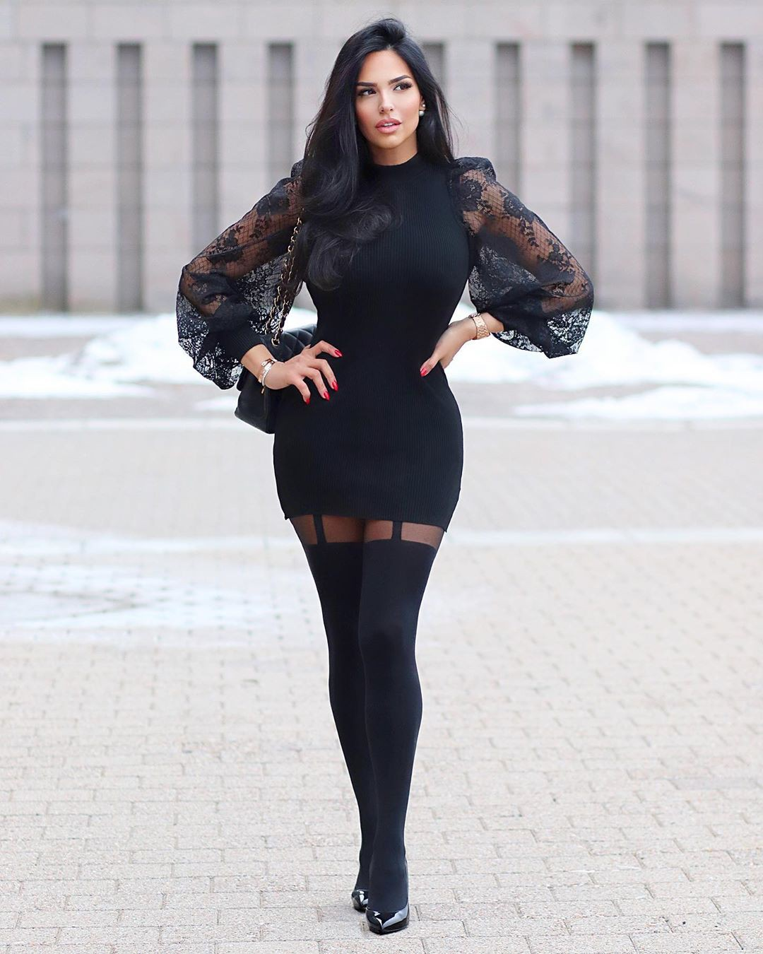 black colour combination with little black dress, tights, hot thighs