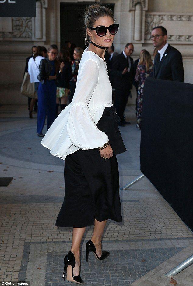 Designer outfit olivia palermo choker paris fashion week, olivia palermo