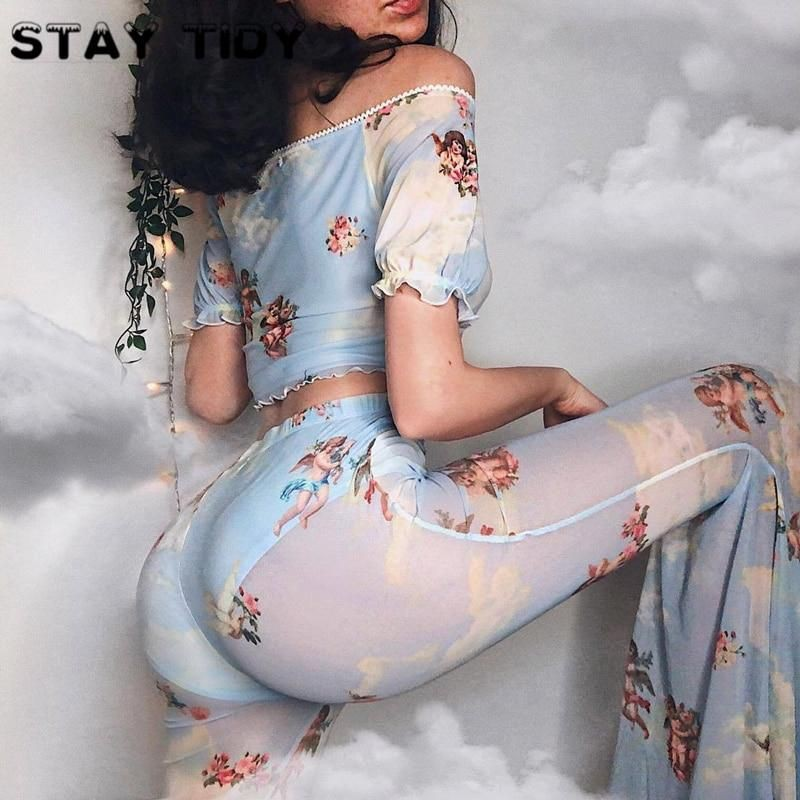 Colour outfit ideas 2020 angel print mesh see through clothing, bell bottoms