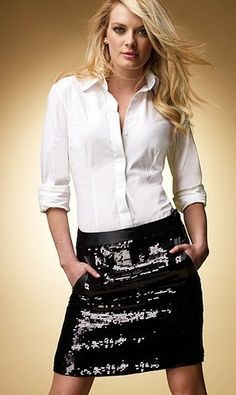 White button down with sequins skirt