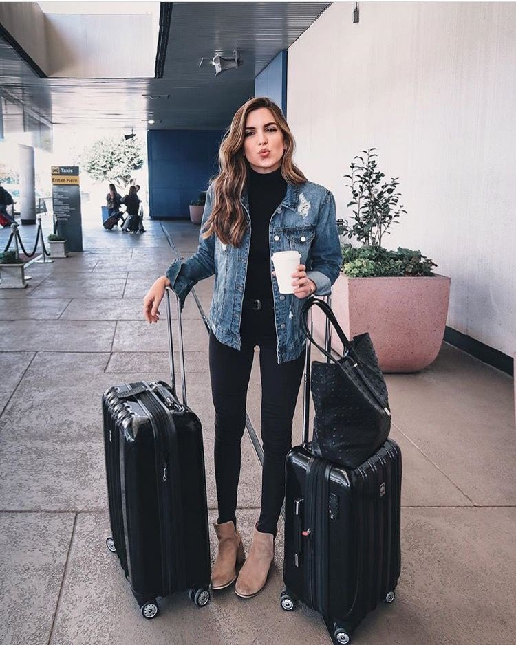 Designer outfit black travel outfit, material property, street fashion, hand luggage, jean jacke ...