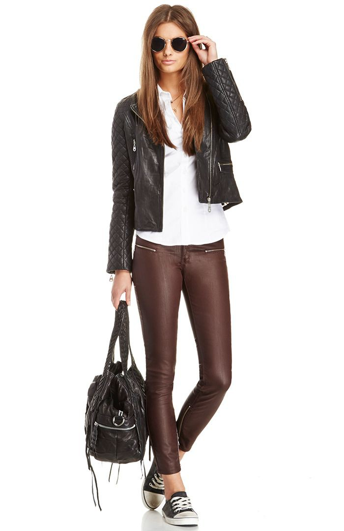 Brown and white colour combination with leather jacket, leggings, leather