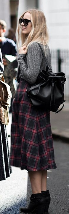 Colour outfit, you must try with miniskirt, tartan, coat