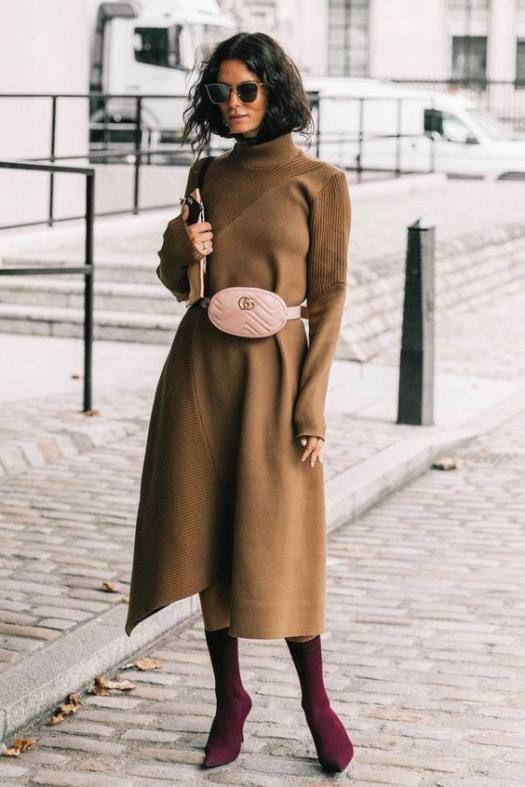 Colour dress sac banane robe, street fashion, trench coat, fanny pack, polo neck