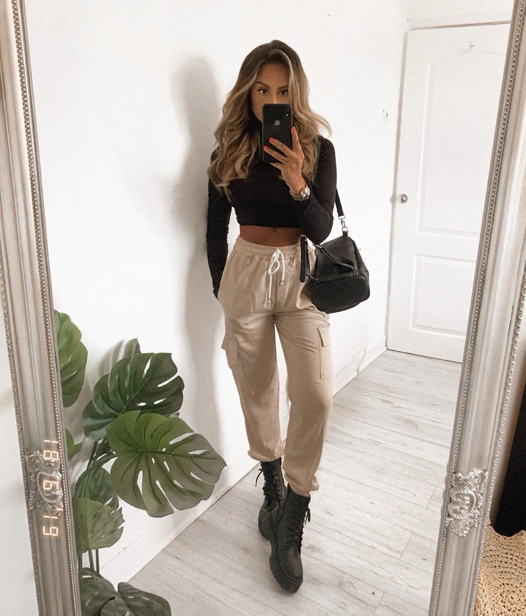 Satin utility trousers outfit, cargo pants, crop top
