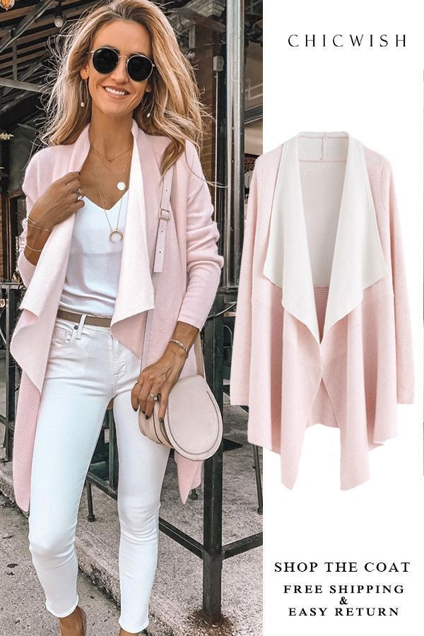 White and pink colour outfit with sweater, jacket, blazer