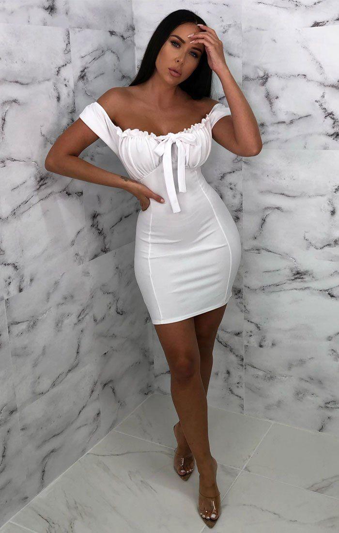 White milkmaid bardot dress, cocktail dress, fashion model, photo shoot