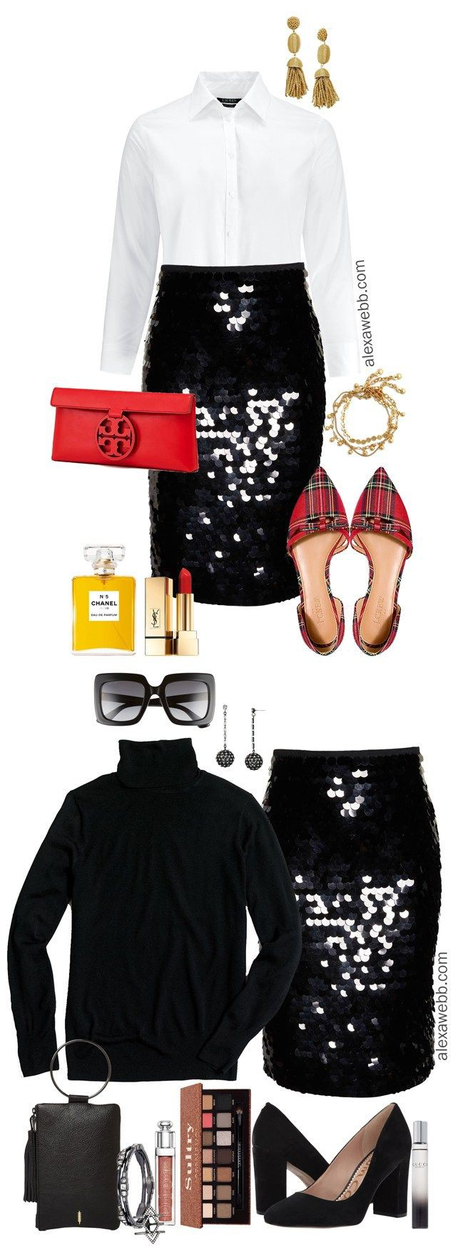 Black sequin skirt outfit plus size clothing, danny & nicole