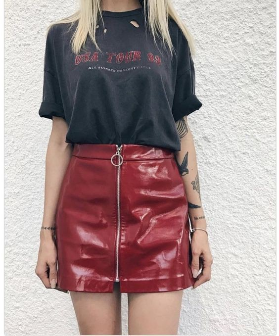 Maroon outfit ideas with leather skirt, pantyhose, miniskirt