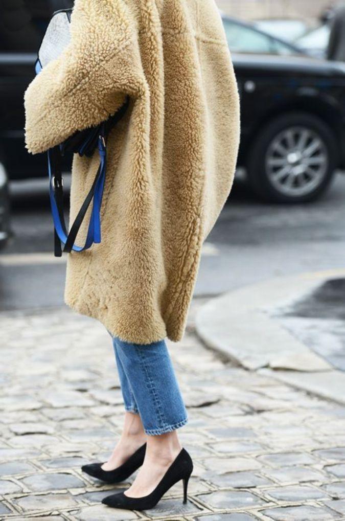 H&m sheep coat, shearling coat, street fashion, fur clothing, teddy bear, fake fur