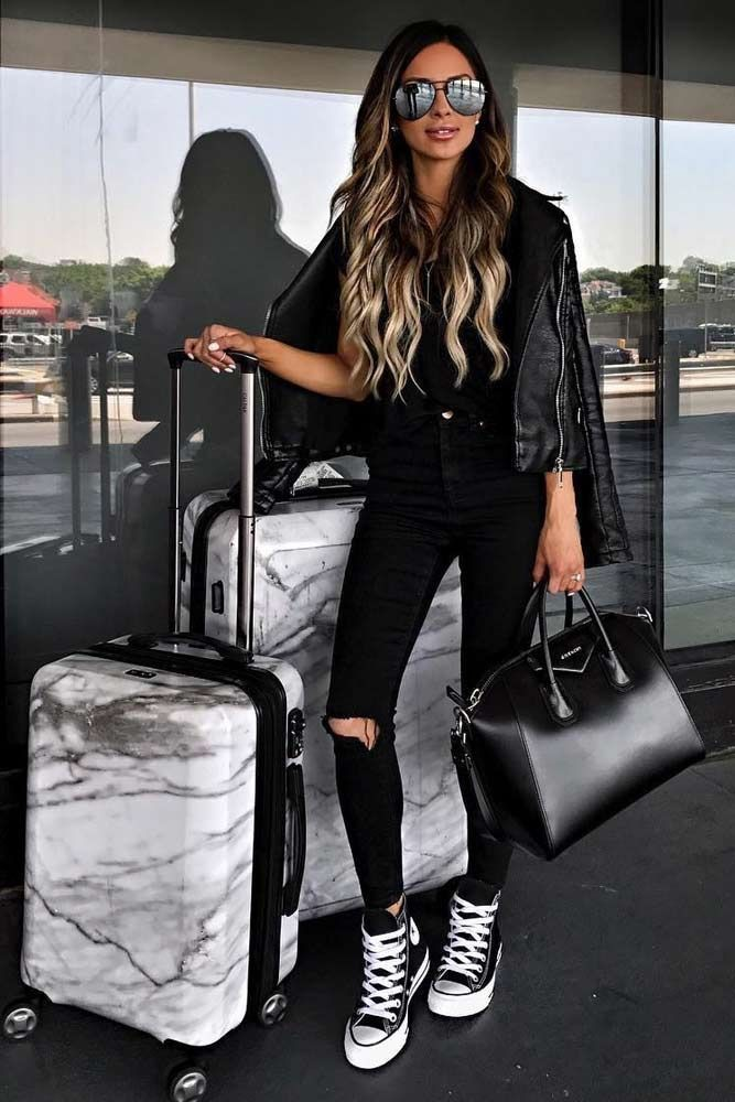Outfit ideas airplane outfit ideas black and white, street fashion