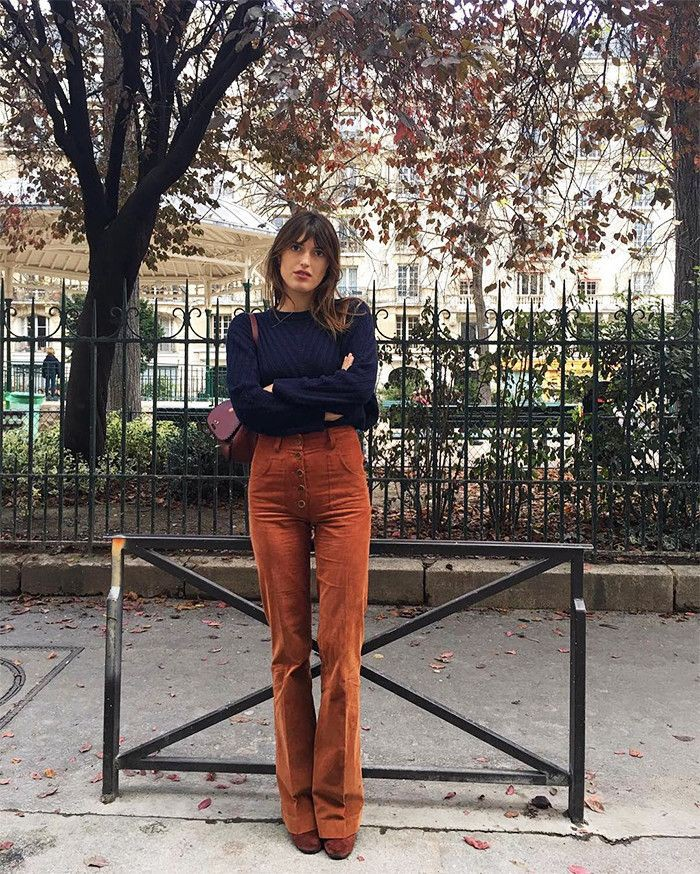 Jeanne damas brown pants, street fashion, jeanne damas, bell bottoms, casual wear, j.crew