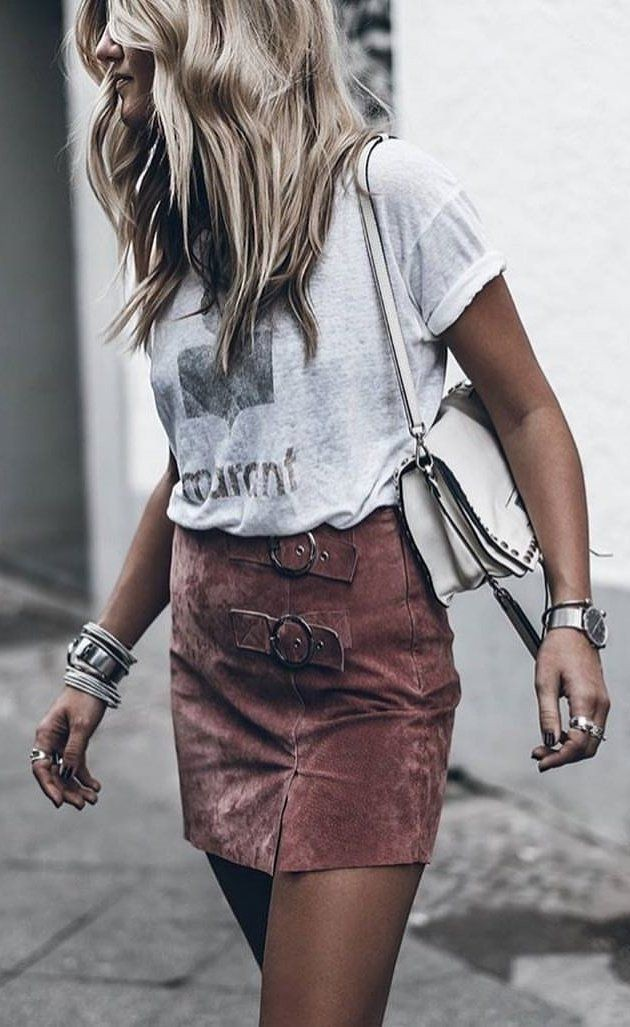 Colour dress suede skirt outfit, street fashion, fashion model, casual wear, crew neck, t shirt