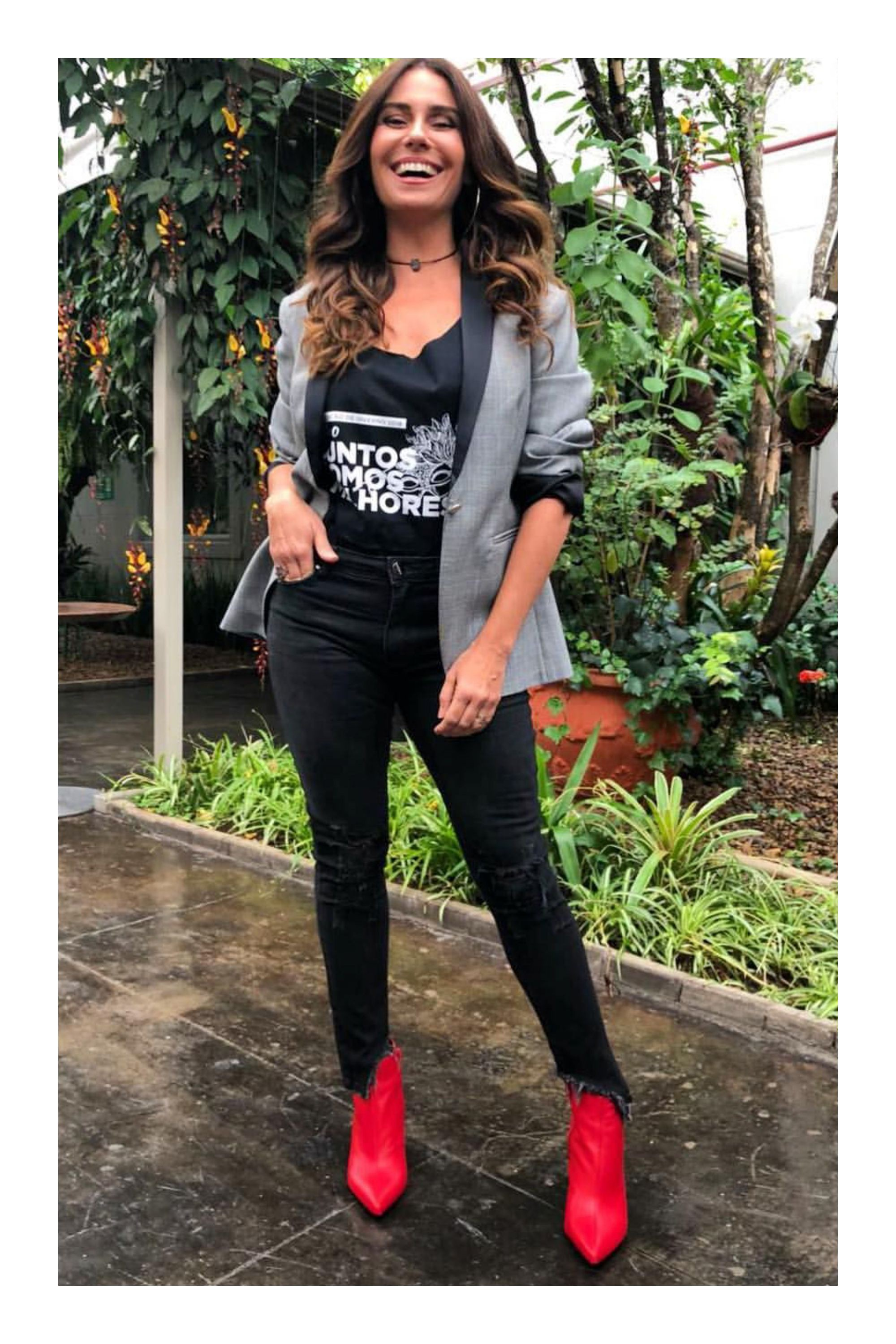 Outfits con botines rojos 2018, t shirt
