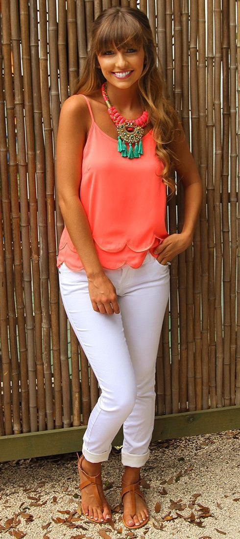 Orange and white colour outfit, you must try with sleeveless shirt, capri pants, swimsuit