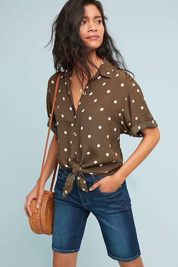Brown clothing ideas with bermuda shorts, polka dot, shorts