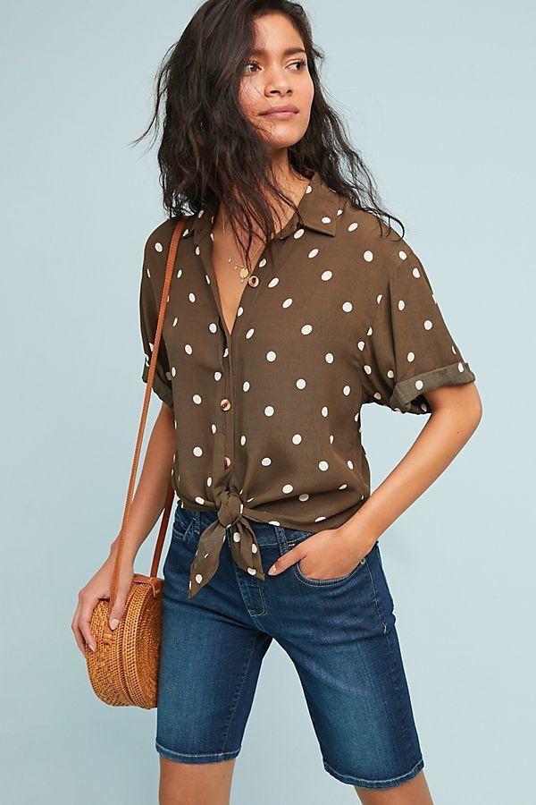 Brown clothing ideas with bermuda shorts, polka dot, shorts