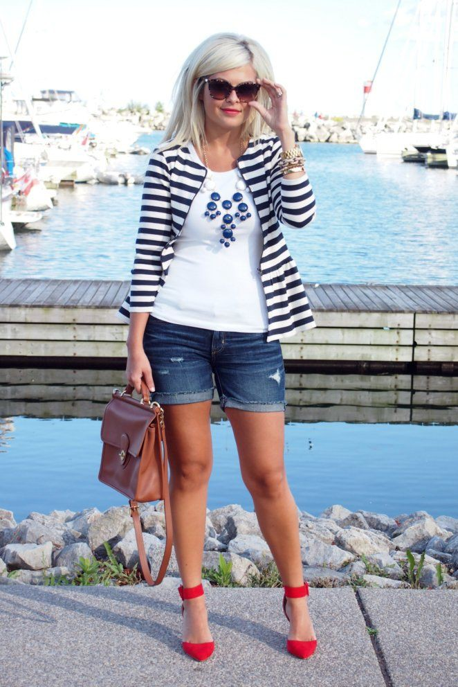 White and blue colour outfit, you must try with jean short, swimsuit, shorts