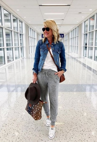 Colour outfit, you must try traveling spring outfit, street fashion, jean jacket, casual wear