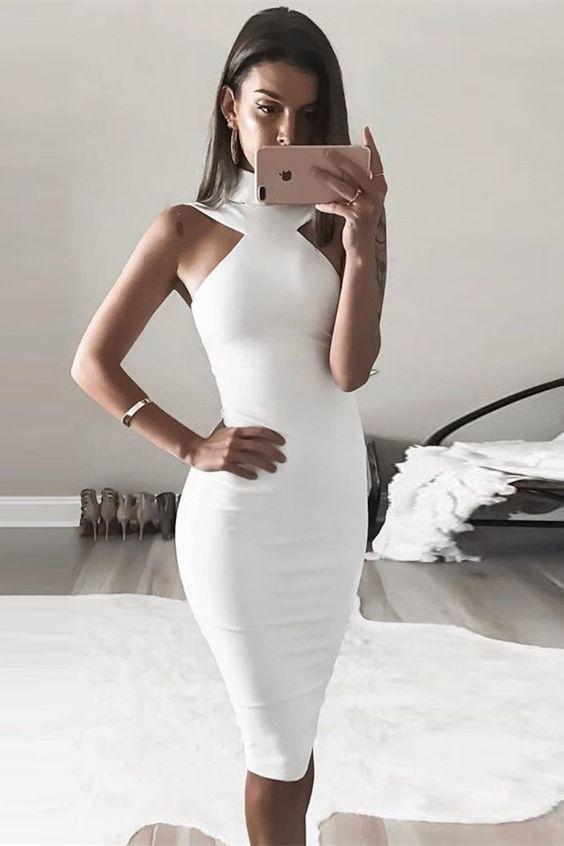 Knee length white bodycon dress