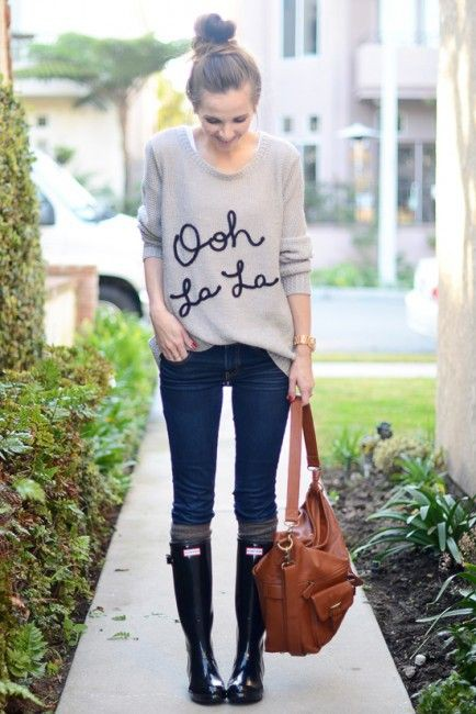 Rainy day outfits with jeans and boots