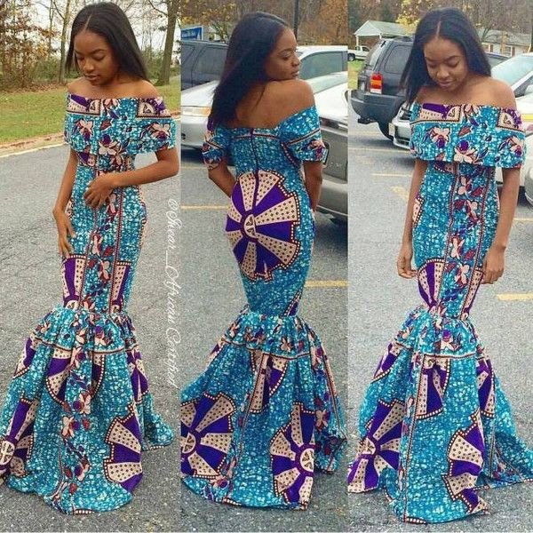 Off shoulder african dresses african wax prints, evening gown