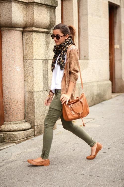 Green pants brown sweater, street fashion, t shirt