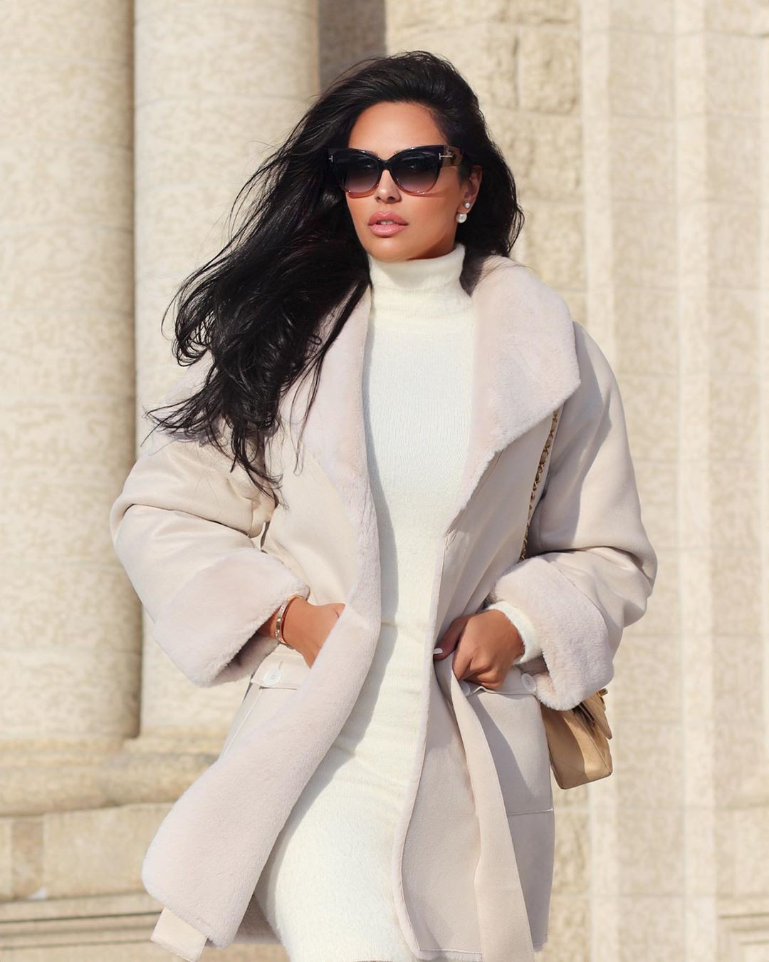 white outfit instagram with blazer, coat, sunglasses, eyewear