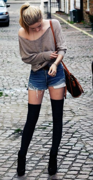 Dresses ideas thigh high socks thigh high boots, street fashion