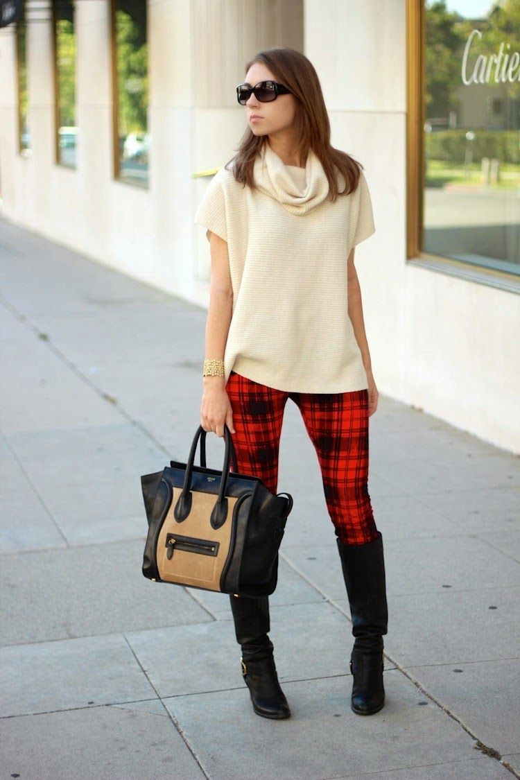 Wear plaid pants in winter