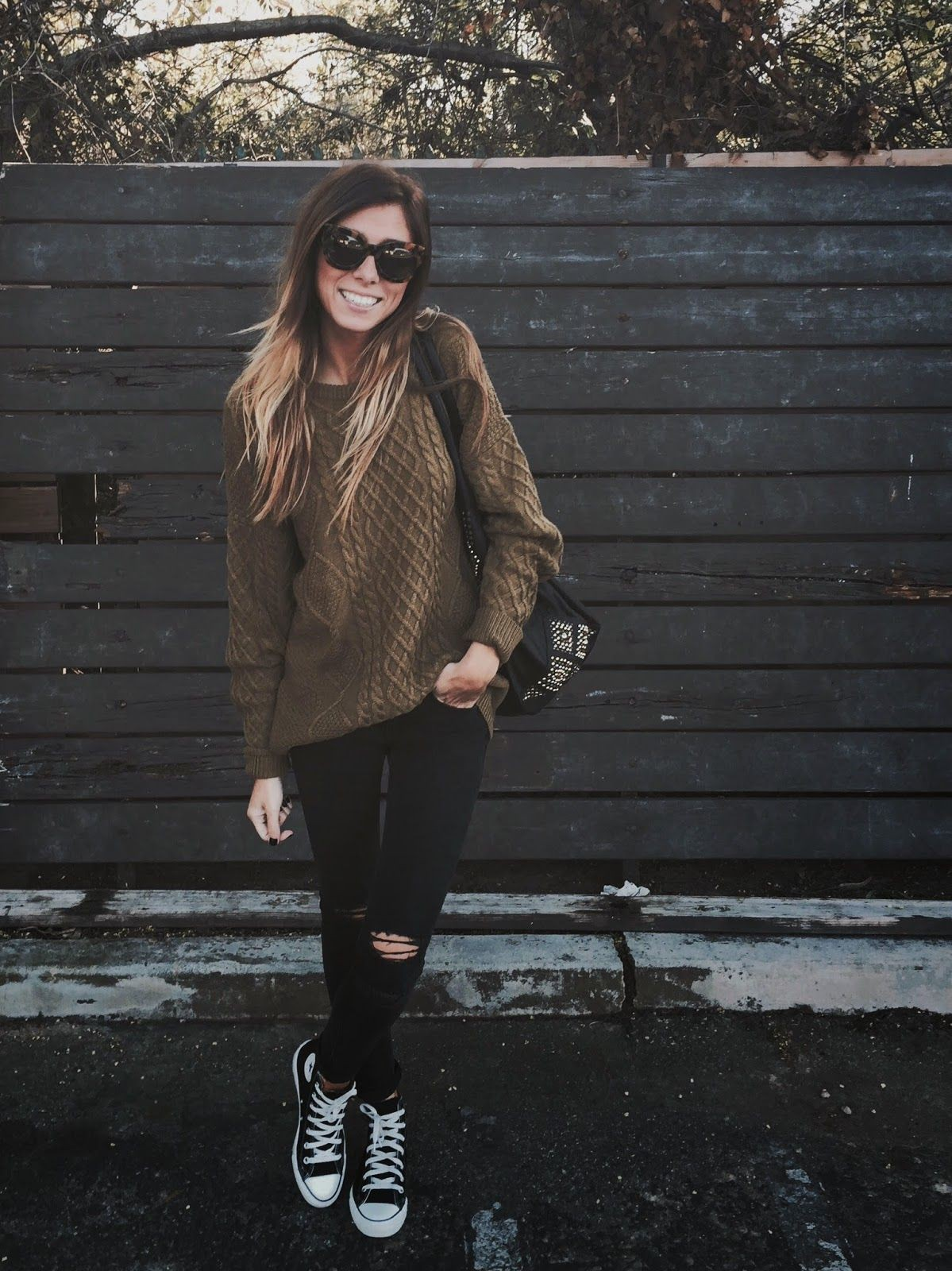 Brown and black classy outfit with trousers, leggings, jacket