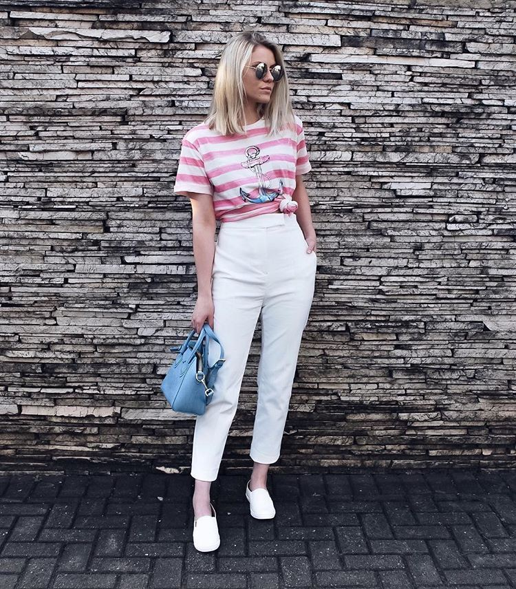 Turquoise and white outfit with trousers, shorts, denim