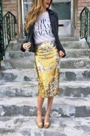 Colour outfit ideas 2020 style sequin skirt, street fashion, sequin skirt, pencil skirt, t shirt