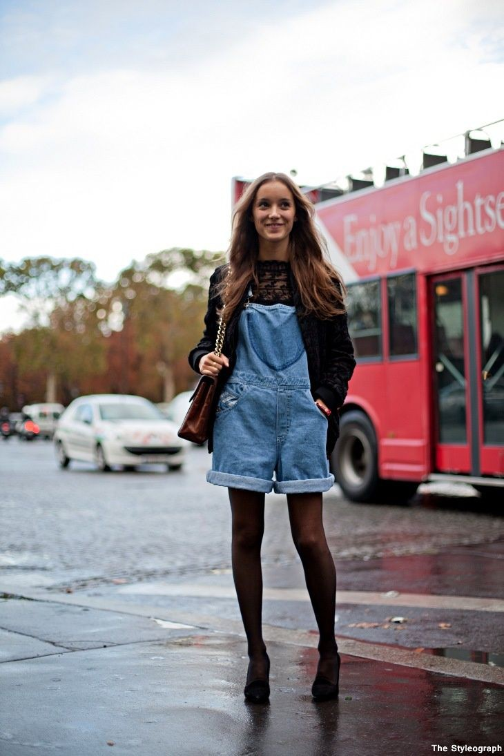 Short denim jumpsuit with tights