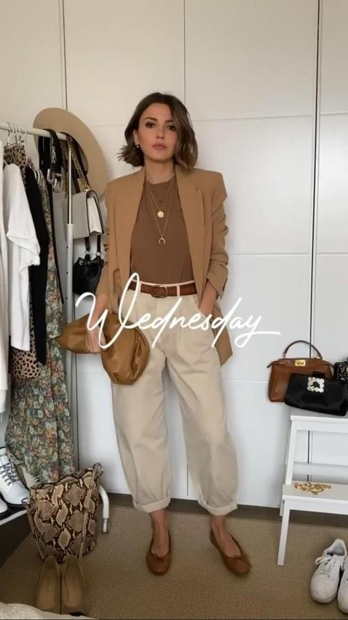 Brown and beige lookbook fashion with trousers, blazer, jeans