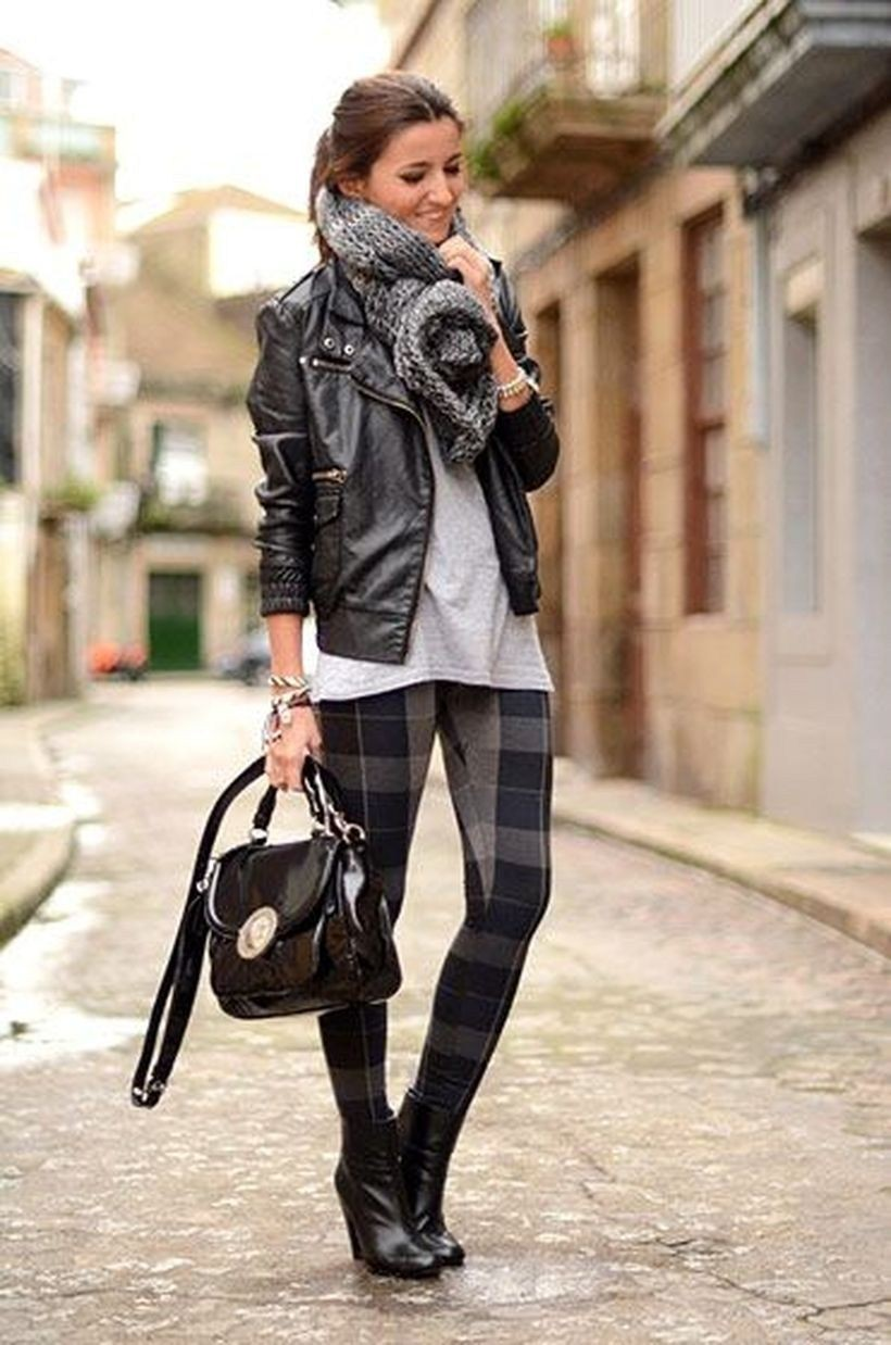 Outfit with leather jacket, leather, jacket