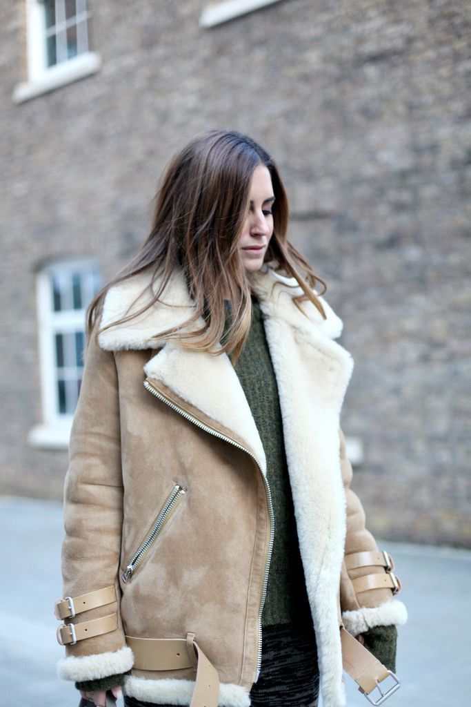 Colour combination beige shearling jacket, winter clothing, leather jacket, shearling coat, stre ...