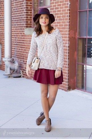 Skirt with brown chelsea boots