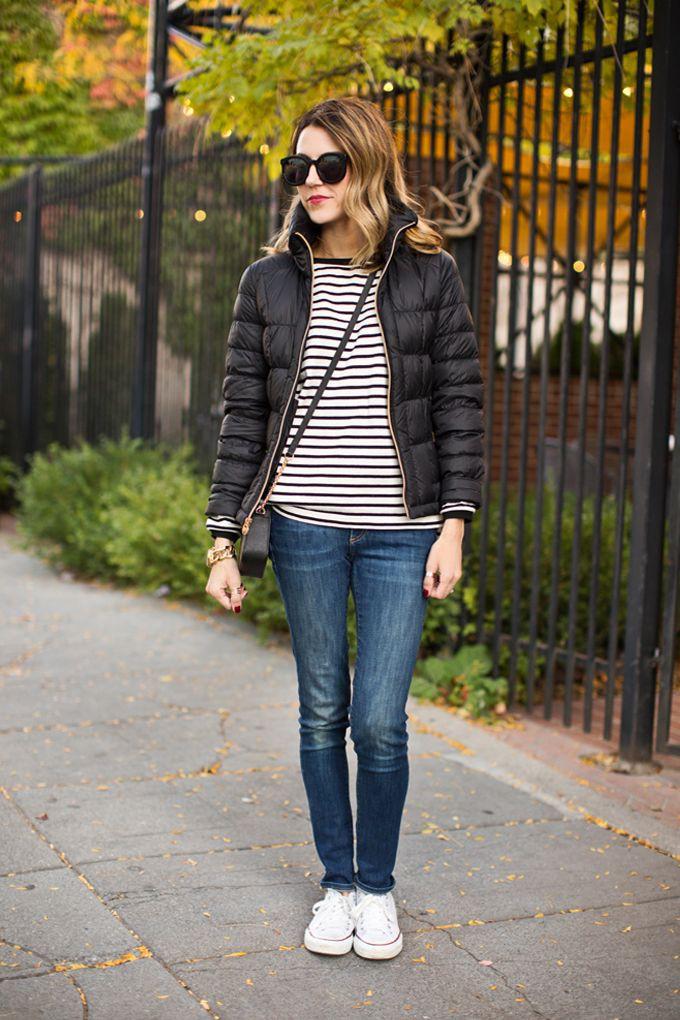 Colour combination casual weekend fashion, street fashion, down jacket, casual wear, t shirt