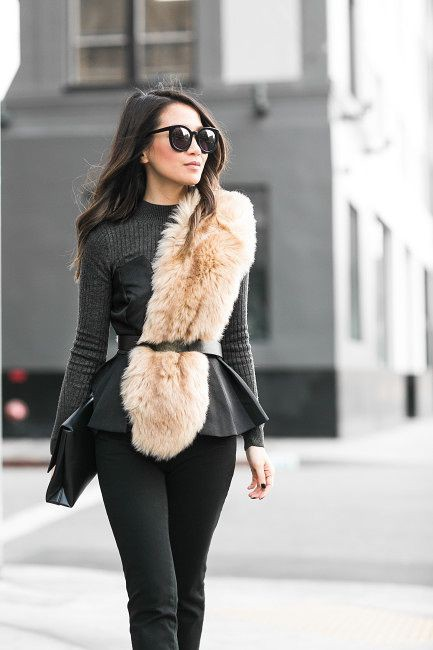 Faux fur scarf outfit, street fashion, fur clothing, fake fur