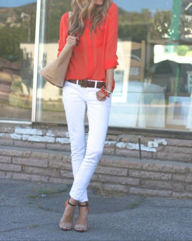 White jeans and red outfits