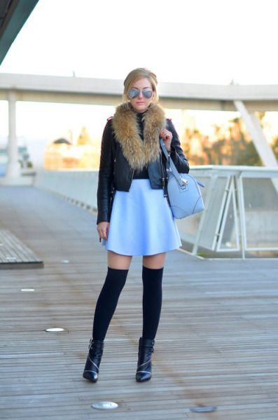 Outfit denim skirt with knee high socks