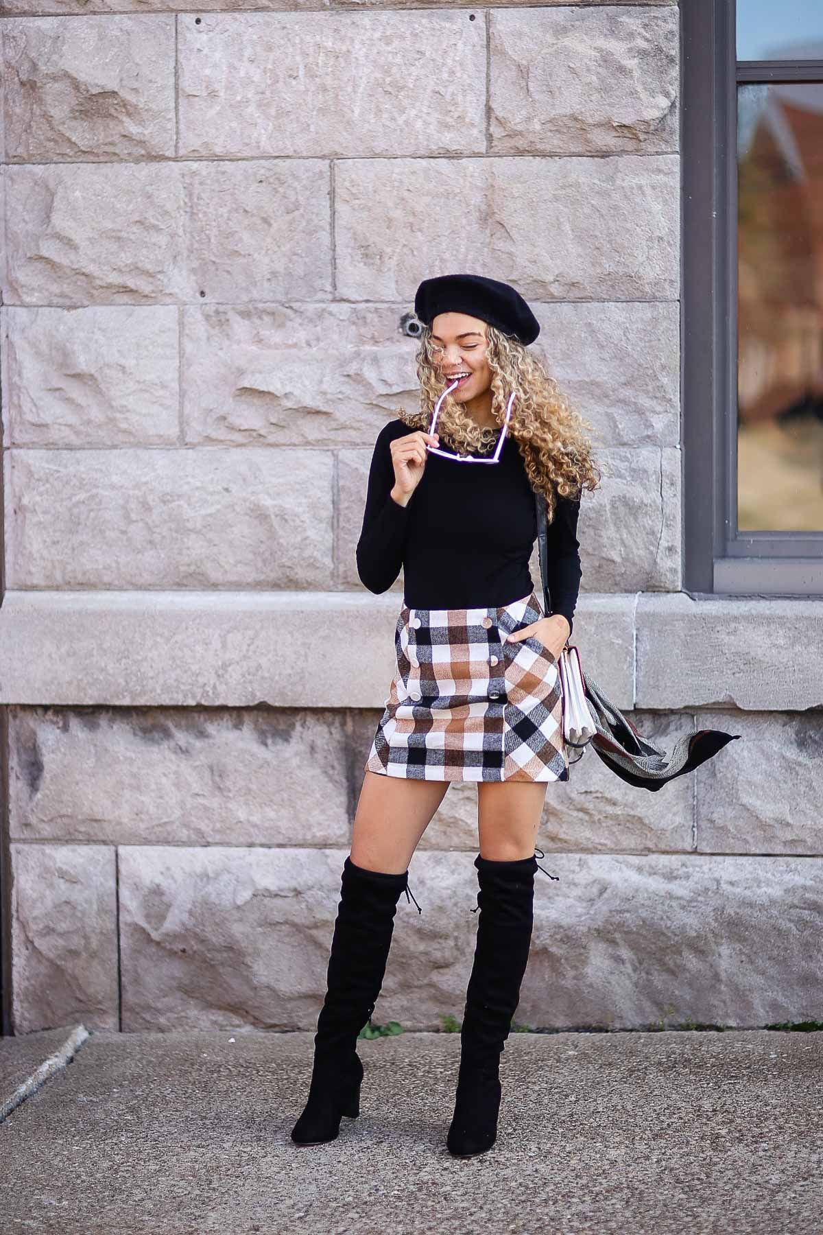 Plaid skirt outfit with beret