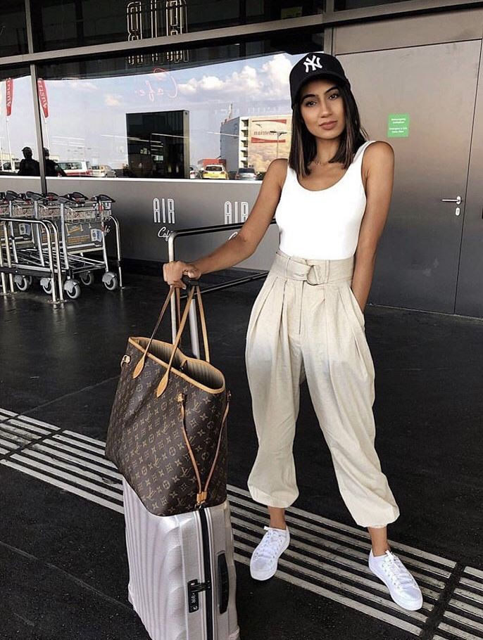 White colour outfit with fashion accessory, sportswear, trousers