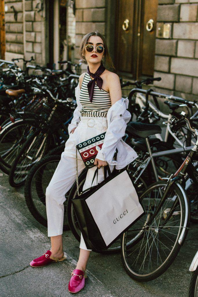 Pañuelo gucci outfit, street fashion, jean jacket