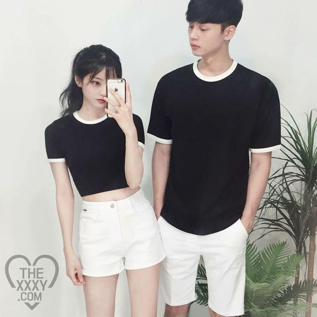 Colour outfit korean couple outfit hip hop fashion, korean language